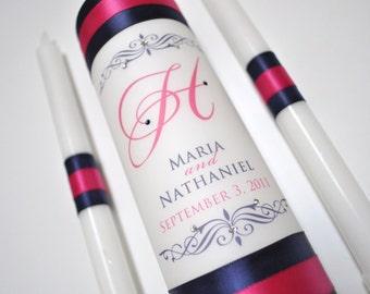 Wedding Unity Candles, Unity Candle, Weddings, Wedding Candle, Monogram Unity Candle, Navy Blue Wedding - Hot Pink