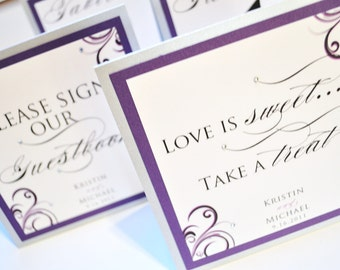 Wedding Table Numbers - Personalized Wedding Table Numbers - Elegant Table Numbers - Purple Wedding