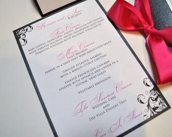 Wedding or Event Menus - Wedding Reception Menus - Wedding Menu Cards