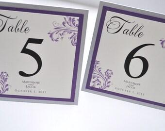 Wedding Table Numbers, Purple Wedding Table Numbers - Table Numbers for Weddings and Events