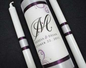 Personalized Unity Candle with crystals and ribbon colors of choice