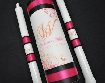 Customized Wedding Unity Candle - Wedding Candles - Monogram Wedding Candle - Unity Candle - Hot Pink Wedding - Black and Pink Wedding