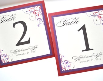 Red Table Numbers for weddings - Wedding Table Numbers - Personalized Wedding Table Numbers
