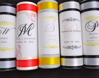 Wedding Unity Candle with Crystals and ribbon colors of choice