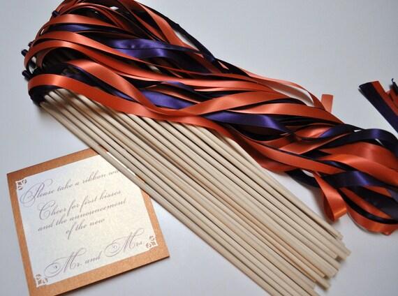 Wedding Ribbon Wands Set of 50 - Ribbon Wands - Ceremony Send Off - Ribbon Sticks