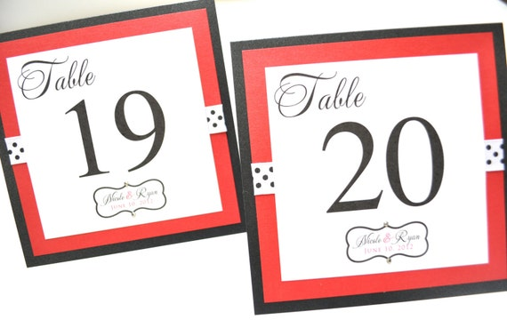 Wedding Table Numbers - Red and Black Wedding Table Numbers - Wedding Reception Table Numbers