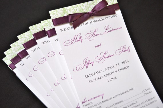 Items similar to Wedding Programs - Elegant Wedding Programs ...