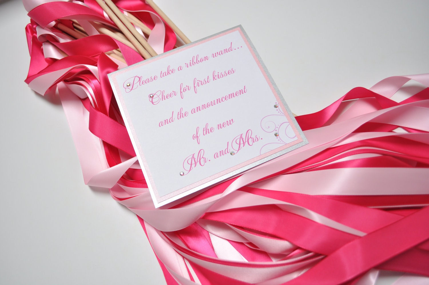 50 wedding ribbon wands with sign and vase choose 2 colors for Wedding wands