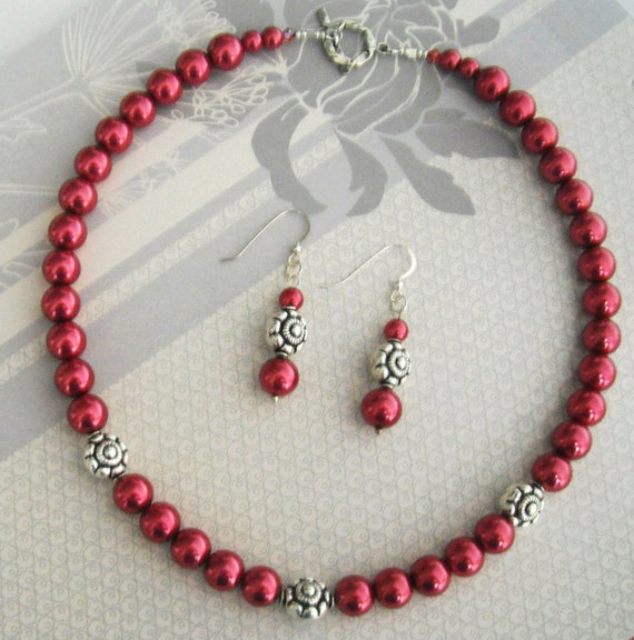 Raspberry Glass Pearl Necklace and  Earring with Sterling silver flower bead