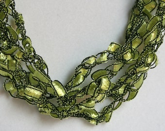 SALE! Lily Pad - Crocheted Necklace