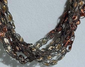 Pecan Pie   - Crocheted Necklace