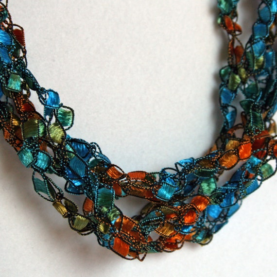 SALE Indian Summer   - Crocheted Necklace