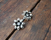 """Glam Floral Vintage Screw On Earrings in Black & White with """"diamond"""" stone"""