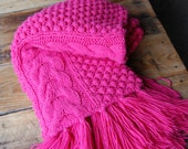 Vintage Chunky Handmade Fuschia Pink Knit Blanket with HAnd Tied Fringe