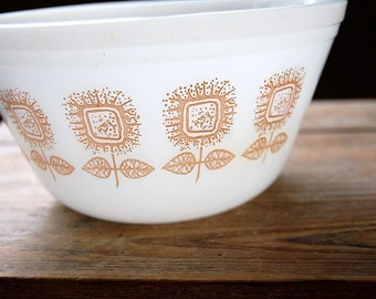 Federal Milk Glass Mod Flower Mixing Bowl
