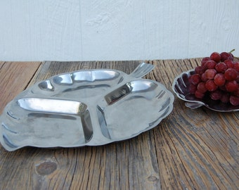 Stainless Leaf Relish Tray Serving Set 2 Pieces