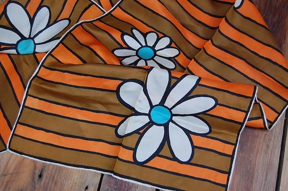 Gorgeous Retro Hand Rolled Floral and Stripe Scarf in Aqua / Orange / Khaki