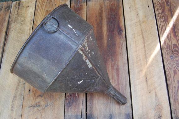 Primitive Vintage Large Industrial Metal Funnel with Super Good Patina
