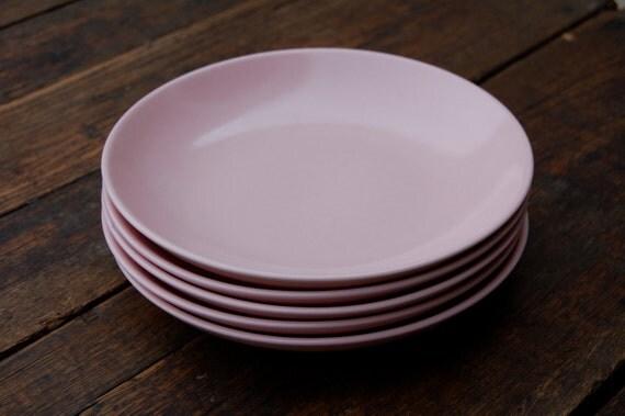 Pink Shallow Ceramic Bowls Set of 5