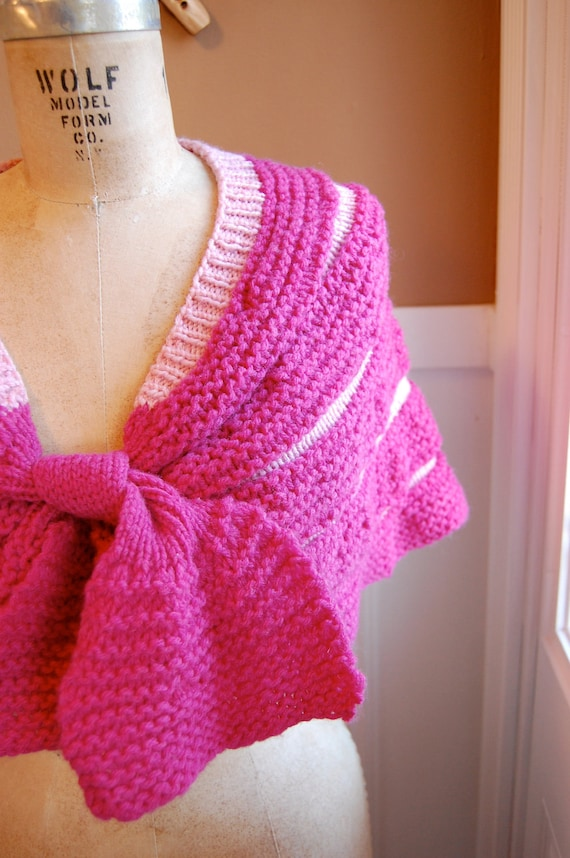 Handmade Knit Fuschia and Ballet Slipper Pink Shoulder Shrug Shawl with Front Tie