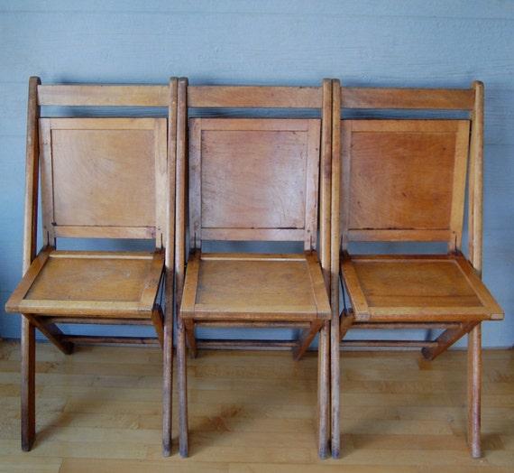 Antique Rustic Wood Wooden Folding Church School Chair Foyer Bench