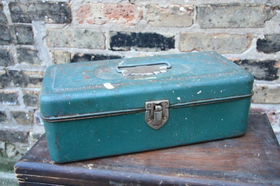 Reserved for Summer Vintage Aqua Union Utility Chest Steel Toolbox