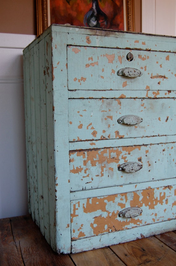 Reserved for Suzanne Industrial Aqua Vintage Wooden Farmhouse Drawer Unit with Original Ornate Bin Pulls