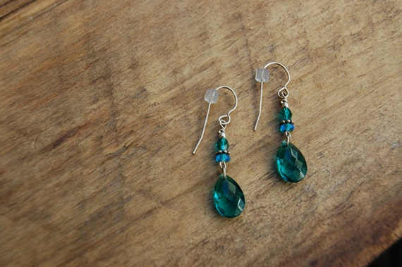 Blue Crystal Drop Earrings with French Hooks