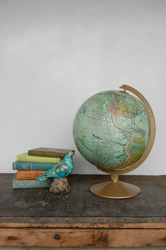 "Reserved for Cyndy Vintage 12"" Inch Replogle World Ocean Series Standing Globe, dated to 1967 1968"