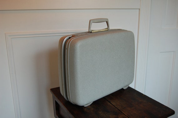 Retro Vintage Samsonite Mini Hard Side Sparkle Grey Suitcase