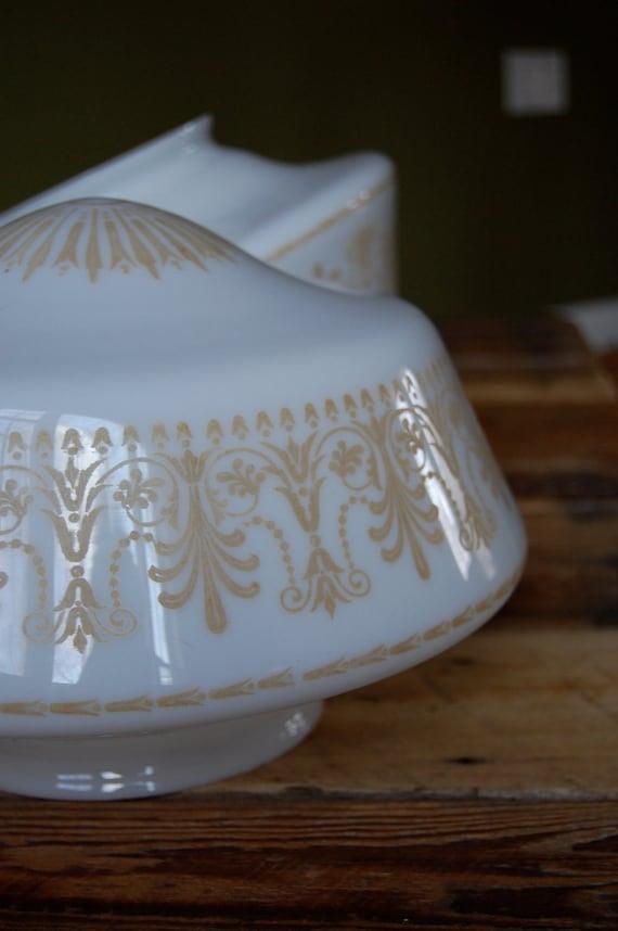 Vintage Ceiling Mount Schoolhouse Shape Milk Glass Light Fixtures, pair of 2