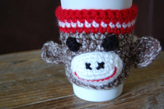 Hand Crocheted Sock Monkey Cozy for your Cup 'o George, sorry Joe