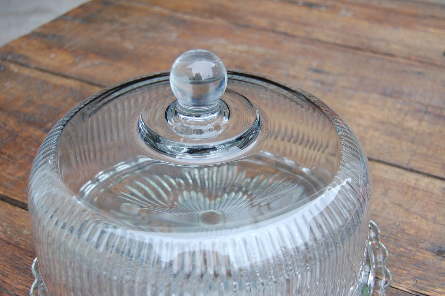 Vintage Glass Cake Plate With Dome Cover