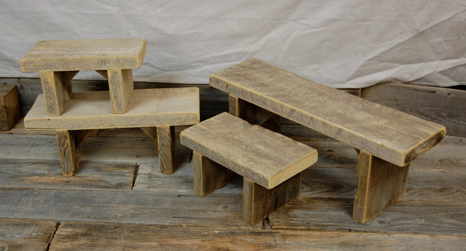 Reclaimed Handmade Wood Bench Seat Step Stool Medium Size