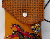 """ONE of a KIND """"Hailstorm Horse"""" Art. Leather Pouch - iPhone etc  - browns, tan, and black. Handmade & decorated by Kathy Kershaw, USA"""