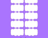 Dry Erase Labels - 20 Small Scalloped Dry Erase Labels, Removable and Repositionable
