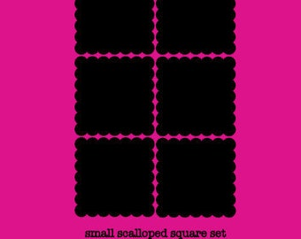 Chalkboard Labels - 12 Small Scalloped Square Chalkboard Labels, Removable and Repositionable