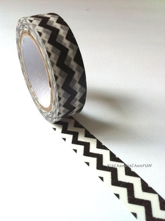 Washi Tape Japanese Masking Tape - Black & White Chevron