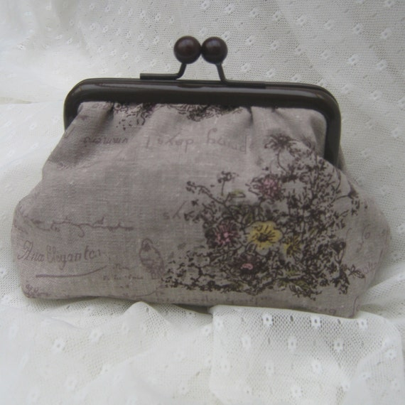 Coin purse - brown retro handwriting birds