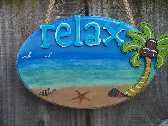 Wood Beach Sign Relax Paradise