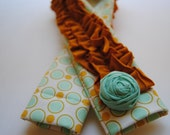 DSLR Ruffle Camera Strap Slip Cover-Mint and Mustard Retro Dot with Mustard Double Ruffle and Rosette Pin