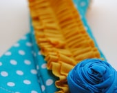 DSLR Ruffle Camera Strap Slip Cover-Teal and White Polka Dot with Mustard Yellow Double Ruffle and Rosette Pin