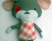 Plush Puppy Dog Rag Doll- Pink  Gray Mandalas- Large 18 Inches- MADE TO ORDER