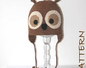 Crochet Animal Hat Pattern - Olivander the Owl Earflap Critter Hat - 4 sizes (6 months to adult)