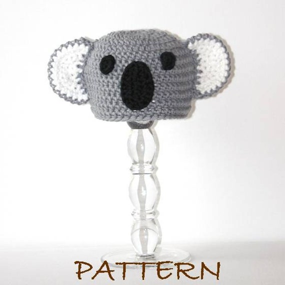 Crochet Animal Baby Hat pdf Pattern - Baby Kristoff the Koala Critter Hat - 3 sizes (preemie to 6 months)