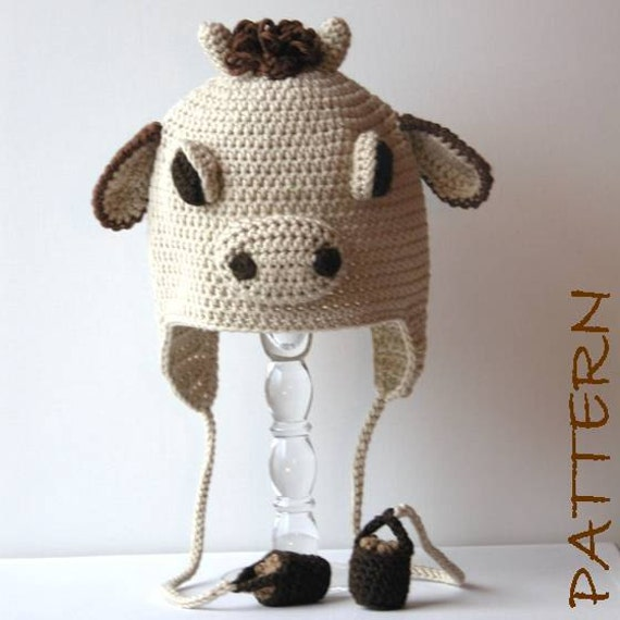 Crochet Animal Hat Pattern - Clementine the Cow Earflap Critter Hat - 4 sizes (6 months to adult)
