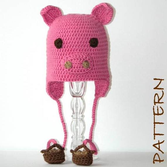 PDF Pepin the Pig Earflap Crochet Critter Animal Hat 4