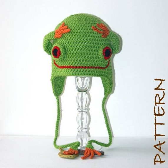 Crochet Animal Hat Pattern - Thaddeus the Tree Frog Earflap Critter Hat - 4 sizes (6 months to adult)