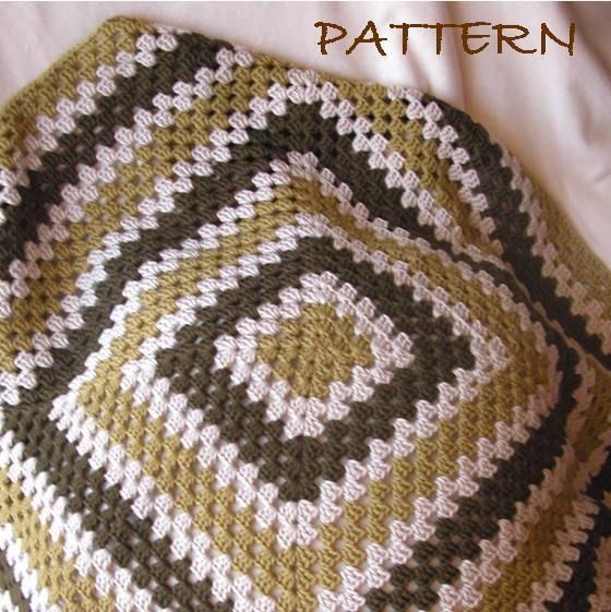 Beginner Crochet Patterns Granny Square : Crochet Pattern Go Go Grannies Granny Square or Rectangle