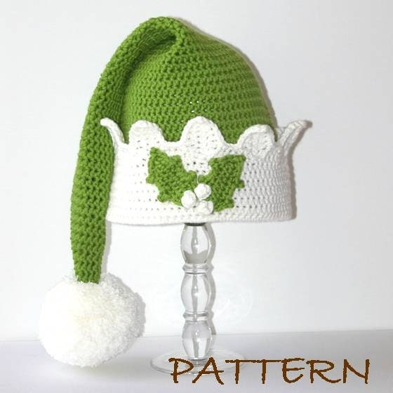 Crochet Baby Christening Dress Pattern Free : Christmas Elf Hat Crochet pdf Pattern 4 sizes 6 months to
